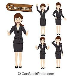 carácter, vector, mujer de negocios, conjunto, ilustración