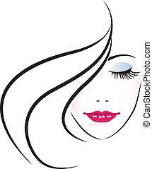 Cara de bella mujer silueta