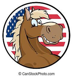 Cara de caballo sobre un círculo americano