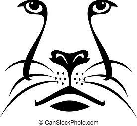 Cara de león silueta logo