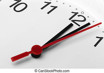 Cara de reloj mostrando la hora pasada la medianoche de fondo blanco