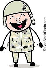 Cara de risa graciosa, el guapo hombre del ejército dibuja ilustración de vectores de vectores de soldados