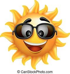 Cara de sol de verano con gafas de sol