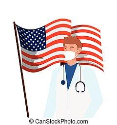 cara, estados unidos de américa, máscara, médico masculino, bandera