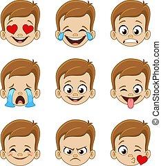 cara, expresiones, emoji, niño