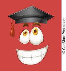 Cara feliz con gorra de graduación