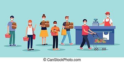 cara, gente, supermercado, compras, máscara