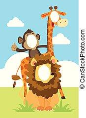 Cara graciosa en el agujero de la ilustración de animales