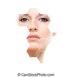 Cara humana en panal. Mujer joven y saludable en cirugía plástica, medicina, spa y el concepto de elevación de la cara.