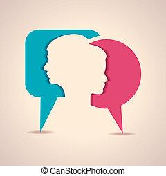 Cara masculina y femenina con mensaje B