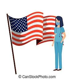 cara, paramédico, estados unidos de américa, máscara, hembra, bandera