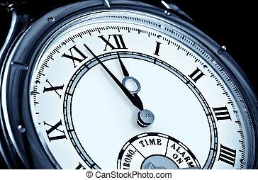 cara, reloj, primer plano, reloj