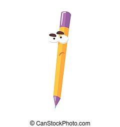 Característica amarilla de cómic naranja lápiz de lápiz, lápiz humanizado con vectores graciosos de ilustración
