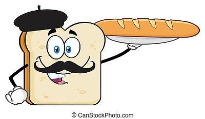 Característica de rebanadas de pan con barras y bigote presentando perfecta baguette de pan francés