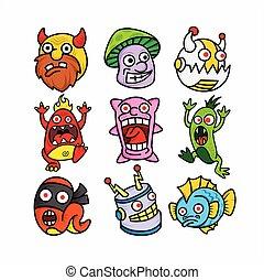 caracteres, caras, lindo, vector, divertido, monstruo