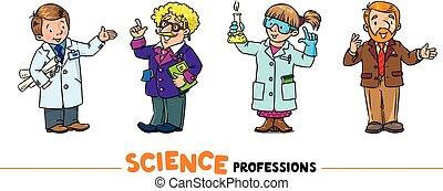 caracteres, conjunto, ciencia, vector, profesiones, divertido