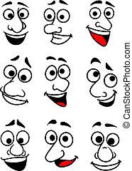 Caras cómicas puestas