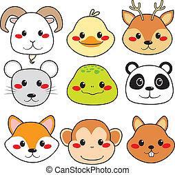 Caras de animal felices