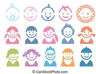 Caras de bebé y de niños
