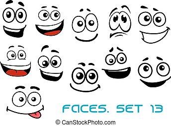 Caras de dibujos animados con varias emociones