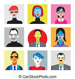 Caras de hombres de negocios y mujeres de negocios para avatar de Internet