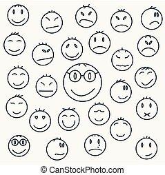 Caras emocionales de dibujos animados, cómics expresados.