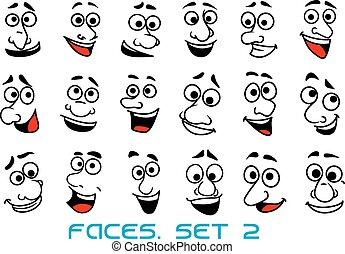 Caras humanas de dibujos animados con emociones felices