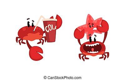 caras, ilustración, caricatura, caracteres, criaturas, actividad, divertido, diversión, lindo, mar, vector, conjunto, cangrejo