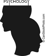 caras, psicología, plano, icono, original