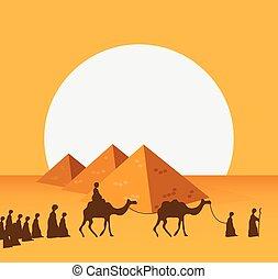caravana, camellos, vector, gente, realista, desierto, de par en par, equitación, grupo, medio, east., ilustración, editable, arenas
