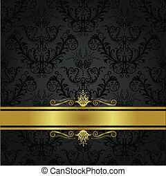 carbón, cubierta de libro, lujo, oro