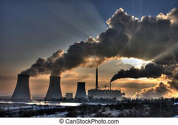carbón, powerplant, -, chimeneas, humos, vista