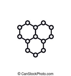 carbón, vector, graphene, icono, estructura atómica