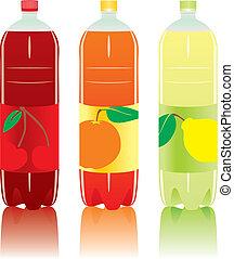carbonated, botellas, bebida