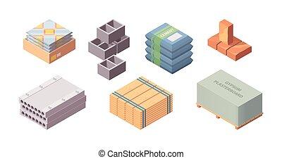 carbonilla bloquea, caricatura, bloque, yeso, concreto, isométrico, set., materiales, construcción, edificio, rojo, tabla, gris, caja, cartón de yeso, cemento, vector, ladrillo, grande, empaquetado, de madera, azulejos, container., estilo, bolsas