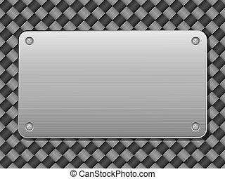 Carbono y placa de metal