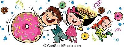 card., hanukkah, saludo, ilustración, vector, feliz