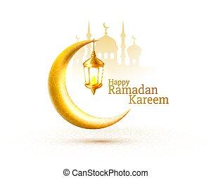 card., mezquita, noche, tarjeta, fondo., cubierta, saludo, vista, dibujado, arco, ramadan, vector, manuscrito
