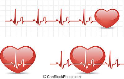 Cardiograma cardíaco con corazón