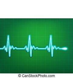 Cardiograma cardíaco con sombra en rojo profundo. EPS 8