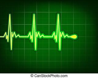 Cardiograma cardíaco en verde profundo. EPS 8