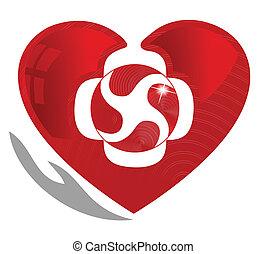 Cardiología y saludable símbolo del corazón