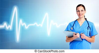 care., doctor, salud, médico, woman.