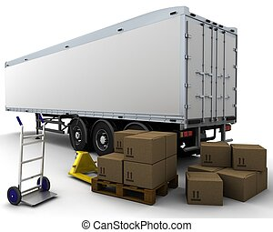 carga, cajas, remolque, envío