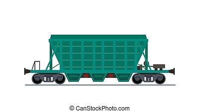 carga, coche., wagon., tren, tolva