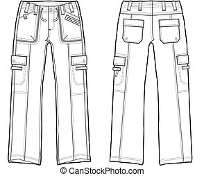 carga, dama, pantalones