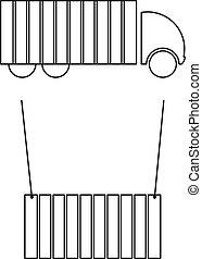 Carga de contenedores, camión cargado, cont
