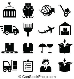 carga, envío, iconos
