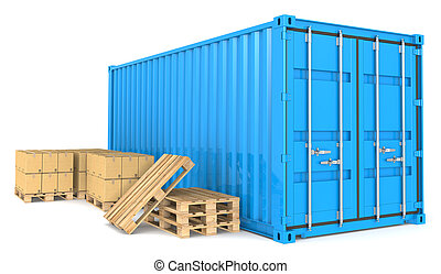 carga, goods., contenedor