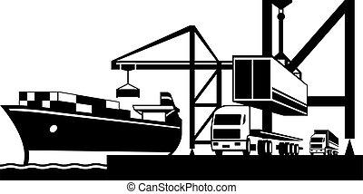 carga, industrial, barcos, grúa, contenedores carga